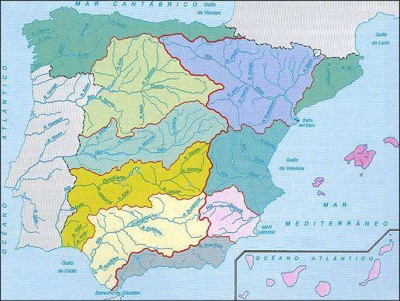 Map Of Spain Ebro River.Rivers In Spain